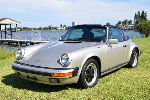 1984 Porsche 911 Carrera Targa Silver/black Fuchs Rims for sale