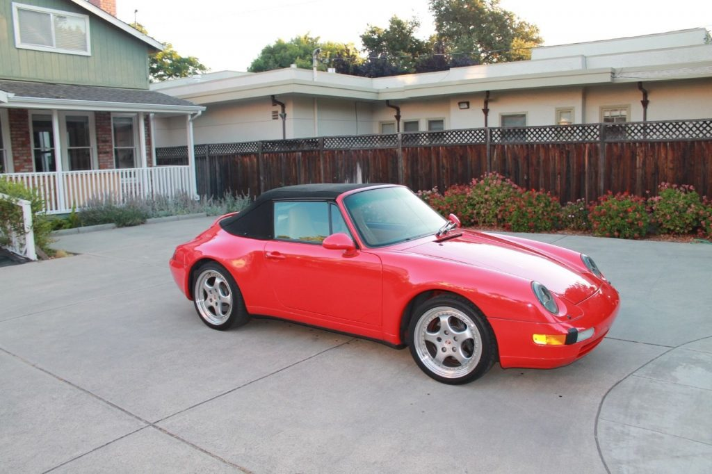 Red 1997 Porsche 993 911 Carrera Cabriolet